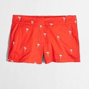 J. Crew Flamingo Embroidered Shorts